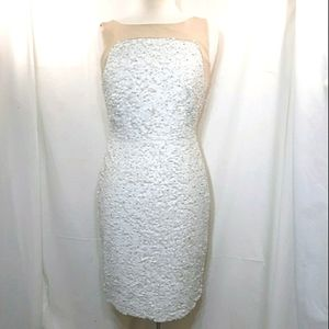 Ann Taylor white and cream cocktail dress